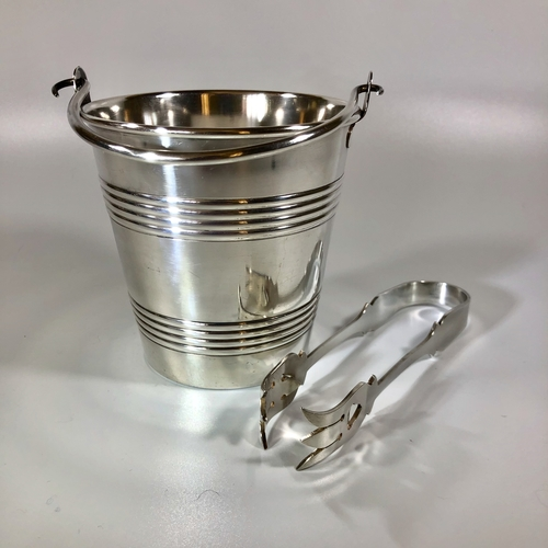 Wiskemann silver plated ice bucket and tongs