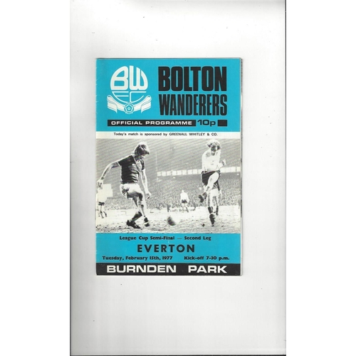 1976/77 Bolton Wanderers v Everton League Semi Final Football Programme