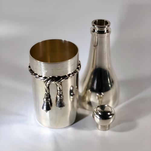 Silver plated champagne bottle cocktail shaker