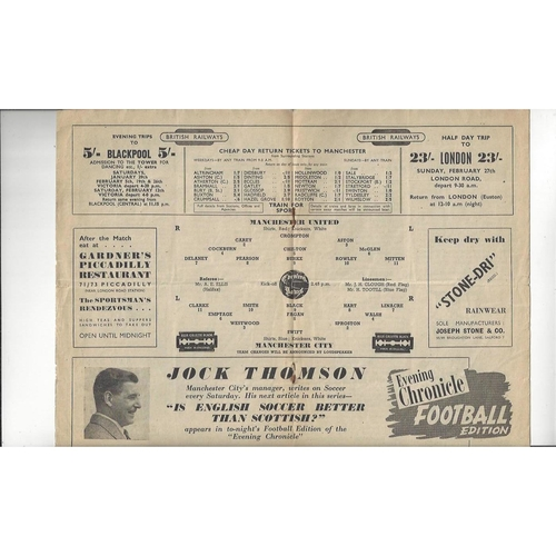 1948/49 Manchester United v Manchester City Football Programme