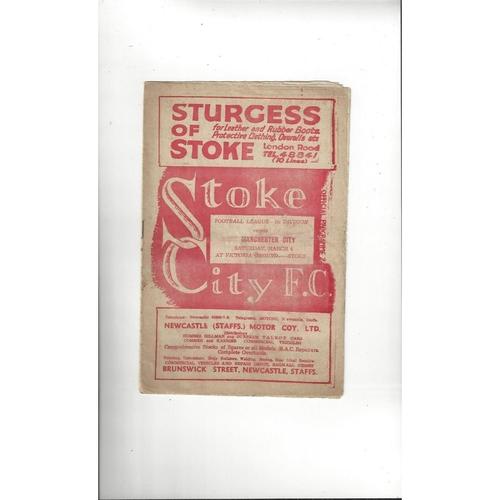 1949/50 Stoke City v Manchester City Football Programme