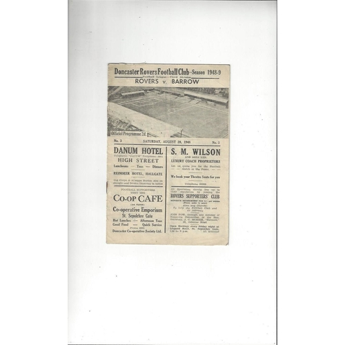 1948/49 Doncaster Rovers v Barrow Football Programme