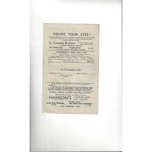 1944/45 Huddersfield Town v Doncaster Rovers Football Programme Feb 17th