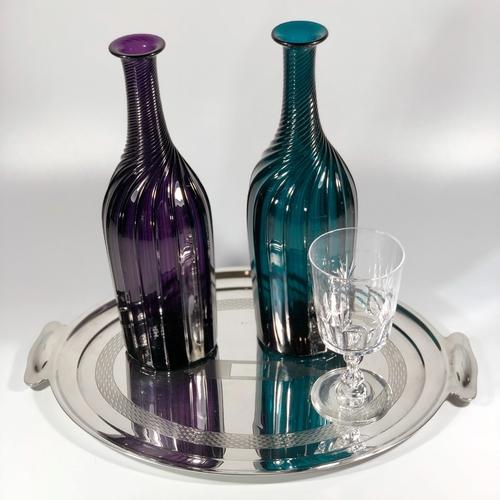 Wrythen fluted glass bottle decanter Circa 1850