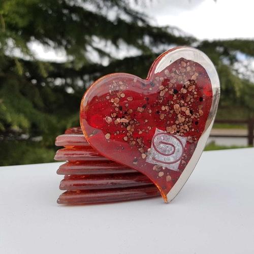 Red / Platinum Heart Coaster