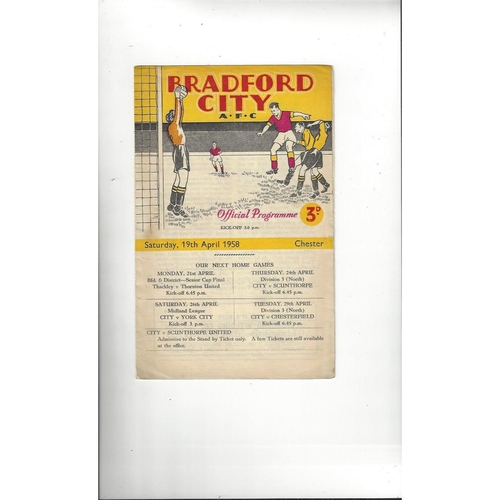 1957/58 Bradford City v Chester Football Programme