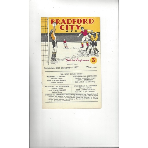 1957/58 Bradford City v Wrexham Football Programme