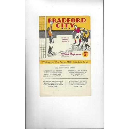 1958/59 Bradford City v Mansfield Town Football Programme