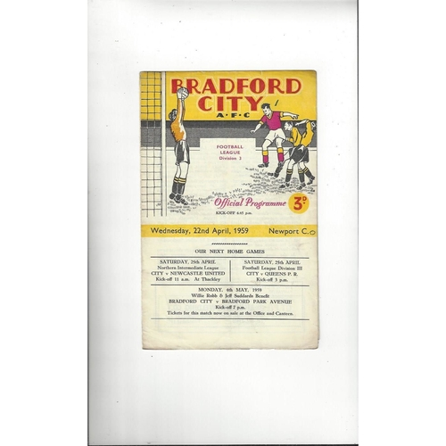 1958/59 Bradford City v Newport County Football Programme