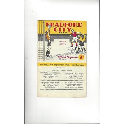 1958/59 Bradford City v Southampton Football Programme