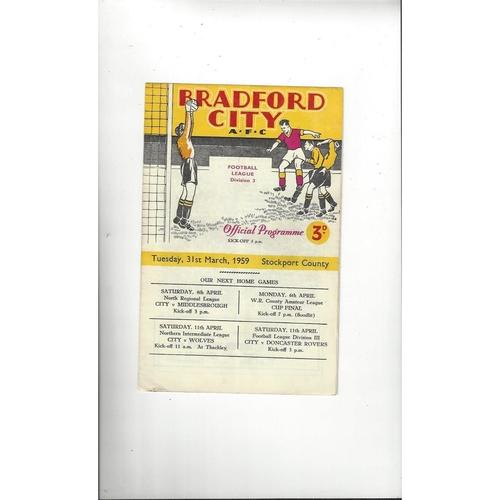 1958/59 Bradford City v Stockport County Football Programme