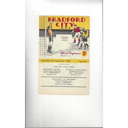 1958/59 Bradford City v Tranmere Rovers Football Programme