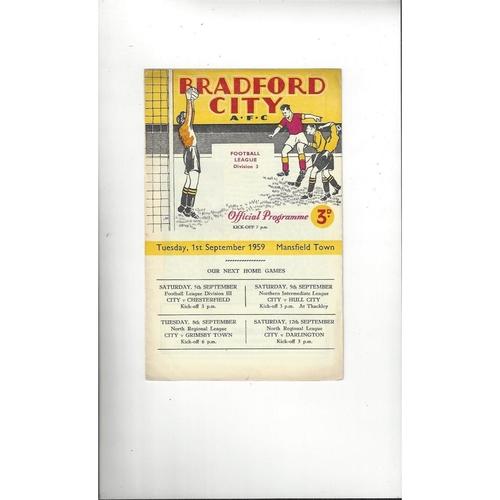 1959/60 Bradford City v Mansfield Town Football Programme