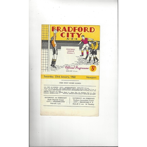 1959/60 Bradford City v Newport County Football Programme