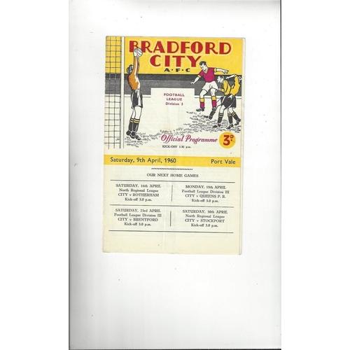 1959/60 Bradford City v Port Vale Football Programme