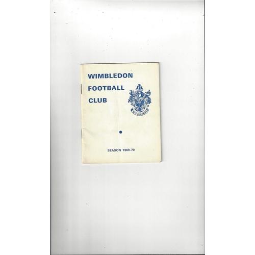 1969/70 Wimbledon v Barking London Challenge Cup Semi Final Football Programme