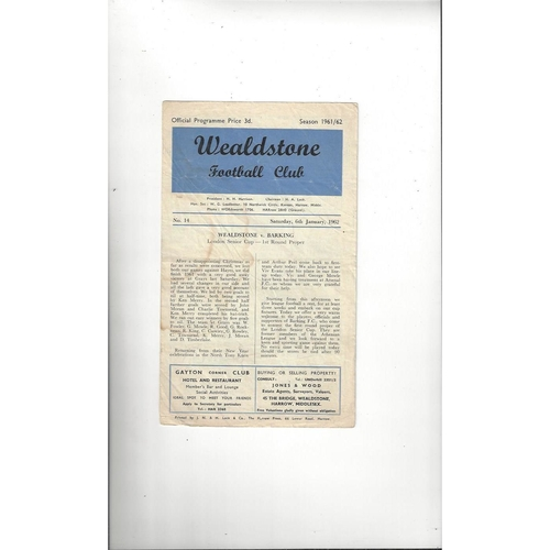 1961/62 Wealdstone v Barking London Senior Cup Football Programme