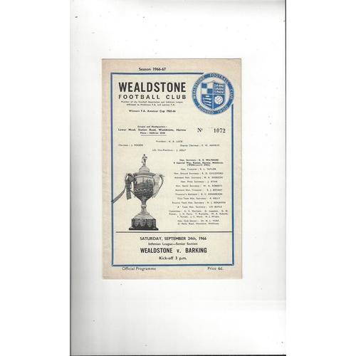1966/67 Wealdstone v Barking Football Programme