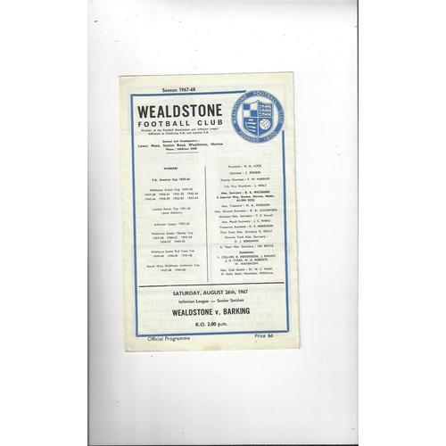 1967/68 Wealdstone v Barking Football Programme