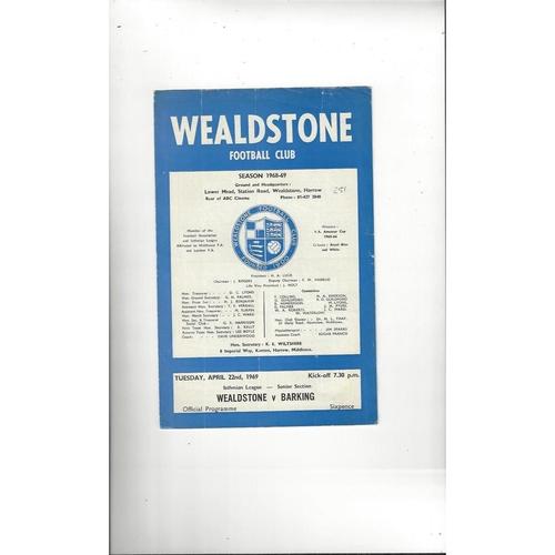 1968/69 Wealdstone v Barking Football Programme