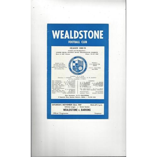 1969/70 Wealdstone v Barking Football Programme