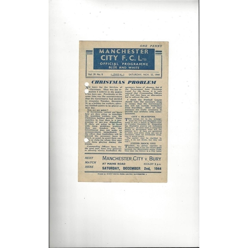 1944/45 Manchester City v Manchester United Football Programme Nov 25th