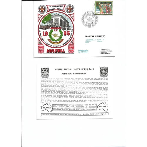Arsenal v Queens Park Rangers Football First Day Cover + Insert 1986