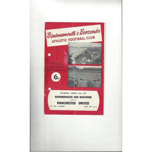 1956/57 Bournemouth v Manchester United FA Cup Football Programme