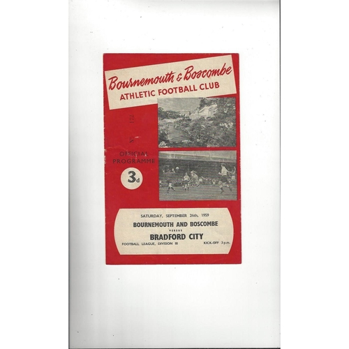 1959/60 Bournemouth v Bradford City Football Programme