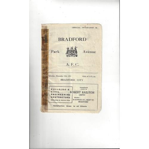 1951/52 Bradford Park Avenue v Bradford City Football Programme