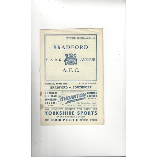 1954/55 Bradford Park Avenue v Southport Football Programme