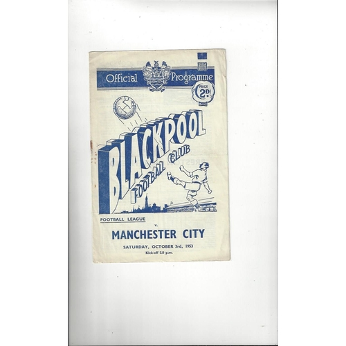 1953/54 Blackpool v Manchester City Football Programme