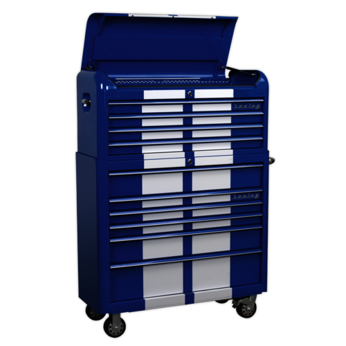 Retro Style Extra Wide Topchest & Rollcab Combination 10 Drawer Blue/White Stripes - Sealey - AP41COMBOBWS