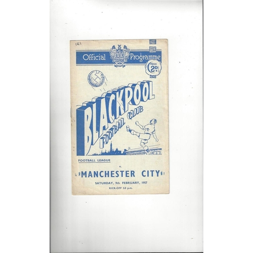 1956/57 Blackpool v Manchester City Football Programme