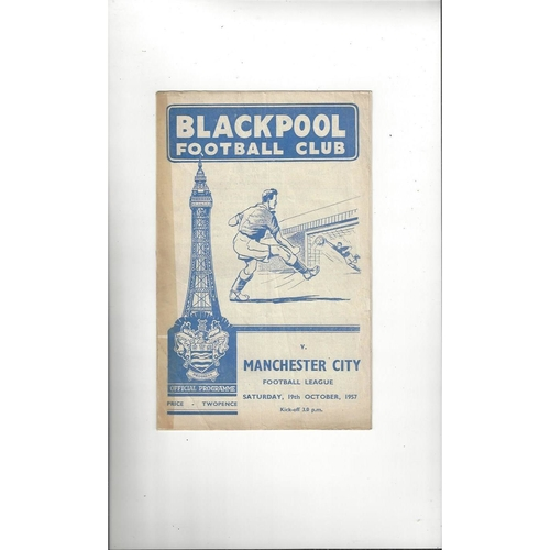 1957/58 Blackpool v Manchester City Football Programme