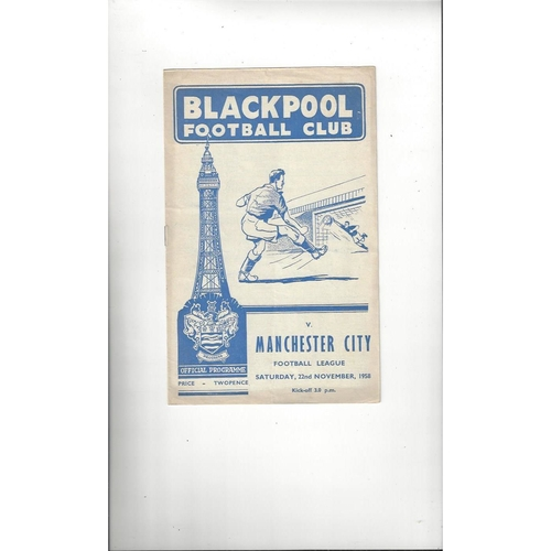 1958/59 Blackpool v Manchester City Football Programme