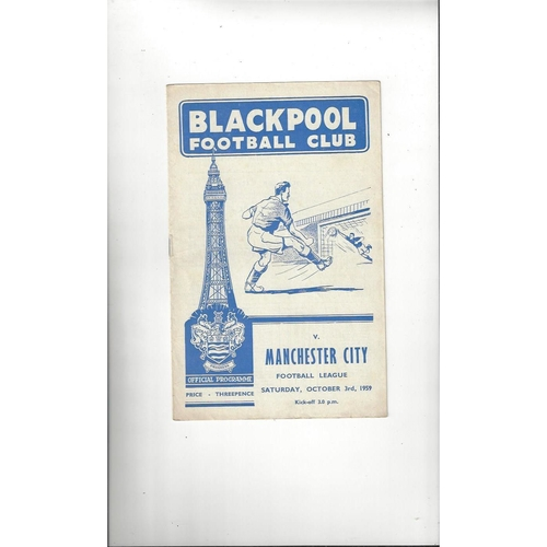 1959/60 Blackpool v Manchester City Football Programme