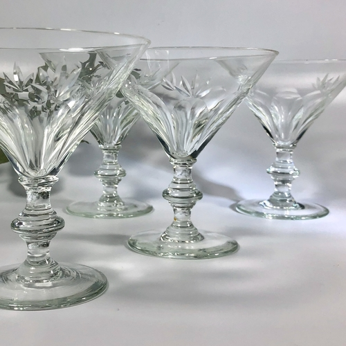 Four crystal Martini champagne cocktails glasses