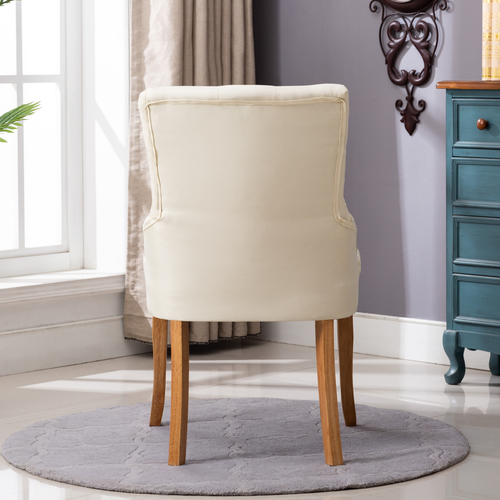 Adele Fabric Accent Chair Dining Chair Scoop Back (Cream  White)