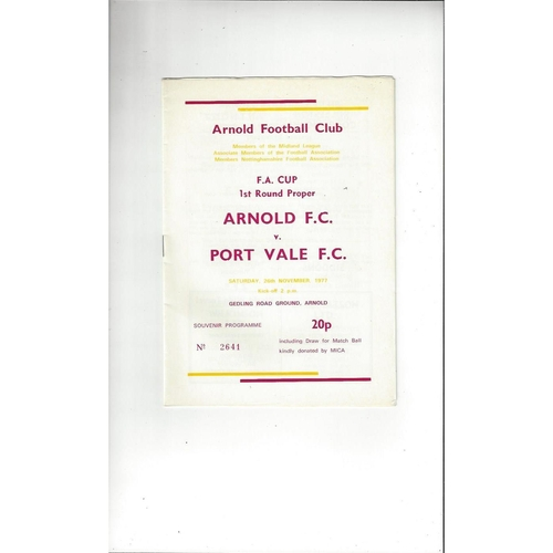Arnold v Port Vale FA Cup Football Programme 1977/78
