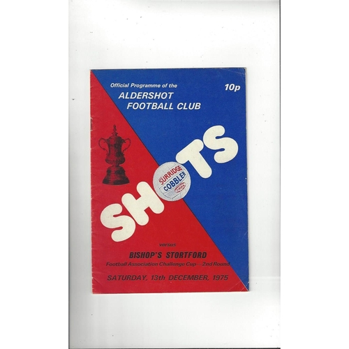 Aldershot v Bishop's Stortford FA Cup Football Programme 1975/76