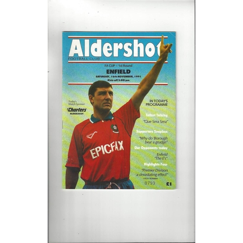 1991/92 Aldershot v Enfield FA Cup Football Programme