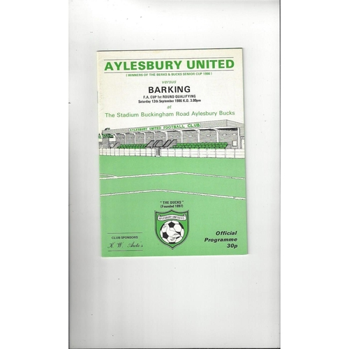 Aylesbury United v Barking FA Cup Football Programme 1986/87