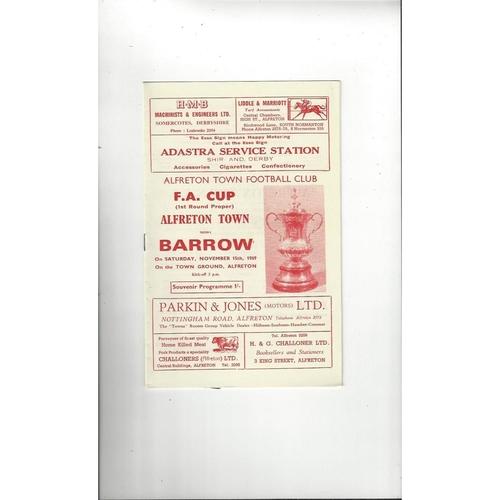 Alfreton Town v Barrow FA Cup Football Programme 1969/70
