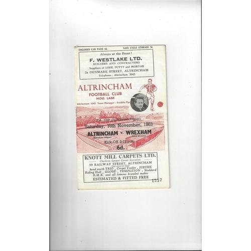 1963/64 Altrincham v Wrexham FA Cup Football Programme