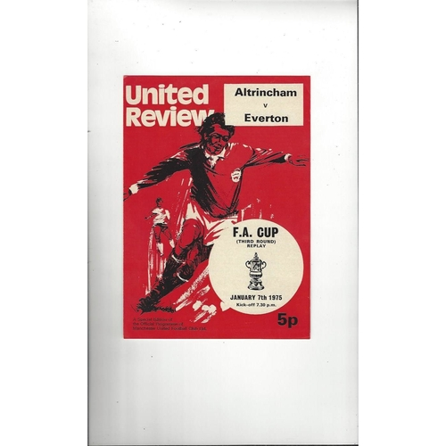 1974/75 Altrincham v Everton FA Cup Replay Football Programme @Manchester United