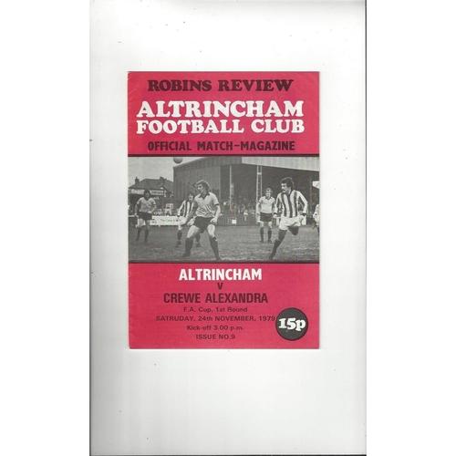 Altrincham v Crewe Alexandra FA Cup Football Programme 1979/80