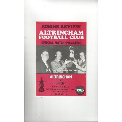 1979/80 Altrincham v Leyton Orient FA Cup Football Programme