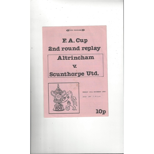 Altrincham v Scunthorpe United FA Cup Replay Football Programme 1980/81