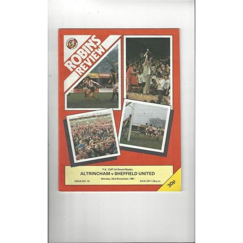 Altrincham v Sheffield United FA Cup Replay Football Programme 1981/82